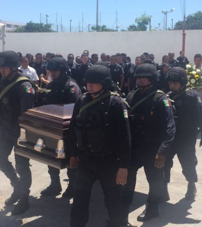 Despiden a policía acribillado en Cancún; suman 4 agentes abatidos en el año