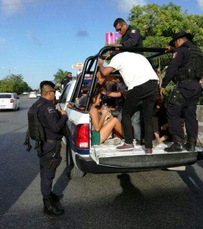 Razia de ambulantes en avenidas de Cancún