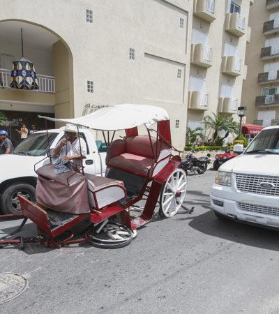 Se descalabra calesa en Cozumel