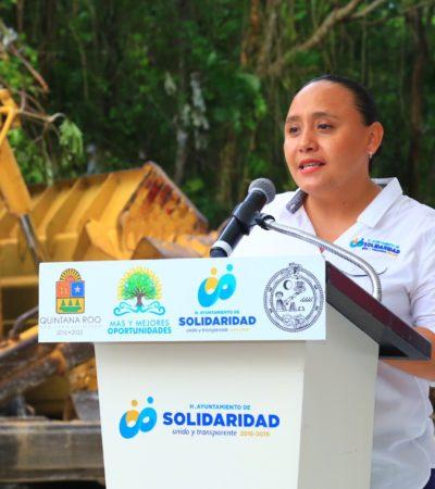 Inicia obra de pavimentación y alumbrado de la avenida Caracola, desde la carretera federal hacia Xcalacoco