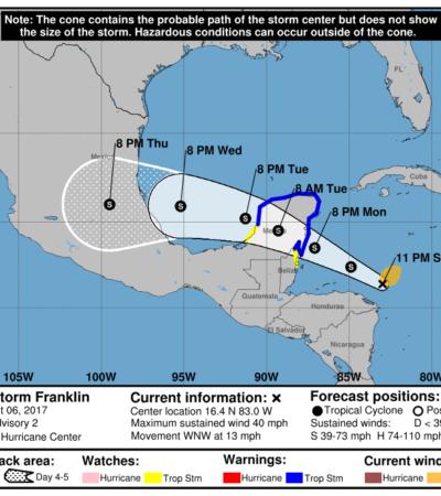 EMITEN 'ALERTA VERDE' PARA QR: Se forma en el Caribe tormenta tropical 'Franklin' y tocaría tierra entre Tulum y Chetumal el martes