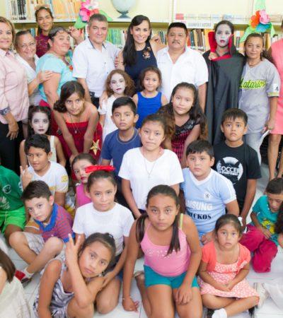 Clausura Alcaldesa el curso de verano 'Mis Vacaciones en la Biblioteca 2017' en Puerto Morelos