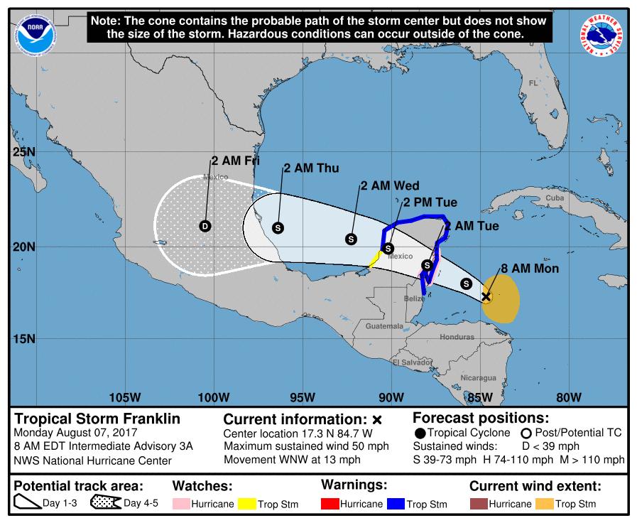 VIGILAN ACERCAMIENTO DE 'FRANKLIN': No descartan que tormenta se convierta en huracán; QR, en 'alerta amarilla'