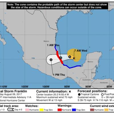 MONITOREO DE TORMENTAS EN EL GOLFO: Prevén que 'Franklin' se convierta en huracán antes de pegar en Veracruz
