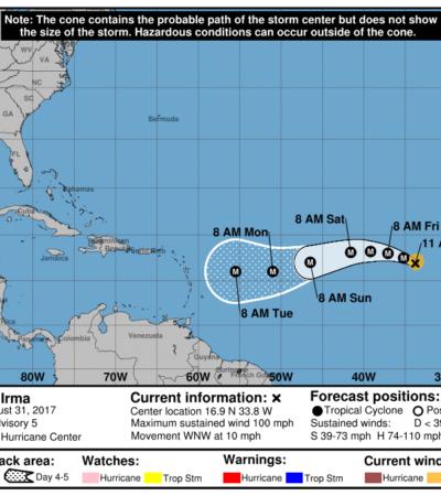 SE CONVIERTE 'IRMA' EN HURACÁN EN EL ATLÁNTICO: El ciclón continúa su trayectoria hacia el Caribe sin representar aún riesgos para costas de México
