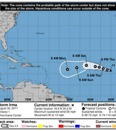 Con potencial para convertirse en huracán, nace en el Atlántico la tormenta tropical 'Irma'