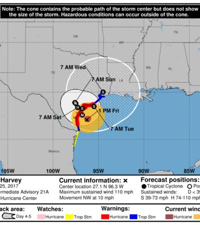 Se fortalece 'Harvey' a huracán categoría 3 a horas de golpear a Texas
