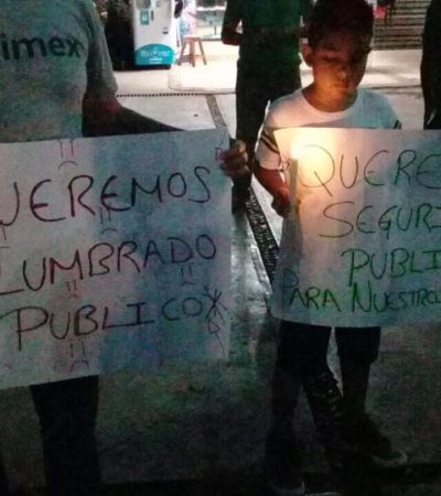 TRUENAN CONTRA PAOLY: Protestan contra Alcaldesa en FCP por falta de alumbrado en colonias de la ciudad