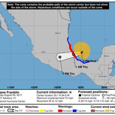 SE CONVIERTE 'FRANKLIN' EN HURACÁN: Antes de golpear Veracruz, el ciclón alcanza vientos de 120 kph con rachas de hasta 145 kph