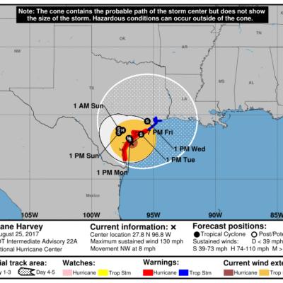 'HARVEY' ALCANZA CATEGORÍA 4: El huracán golpeará esta noche las costas del sur de Texas con vientos de más de 210 kph