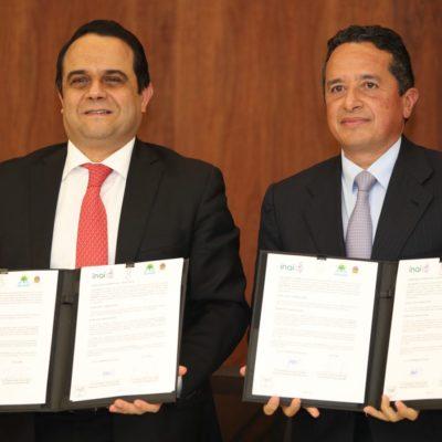 Firma Carlos Joaquín un convenio con el INAI para promover la transparencia en las comisiones oficiales de funcionarios y gastos en publicidad