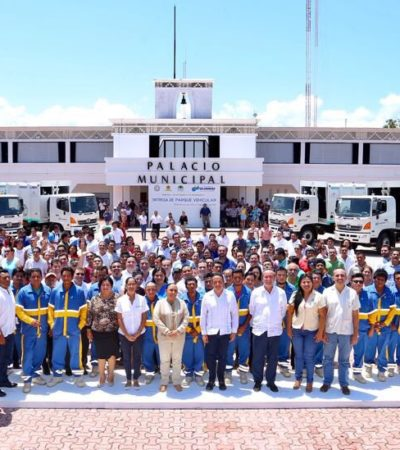 Entrega Alcaldesa nuevos camiones para la recolección de la basura en Solidaridad con inversión de 9.4 mdp