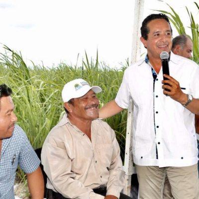"""Va Carlos Joaquín a Pucté a inaugurar camino sacacosechas; """"se siente el cambio en el campo"""", dice Gobernador"""