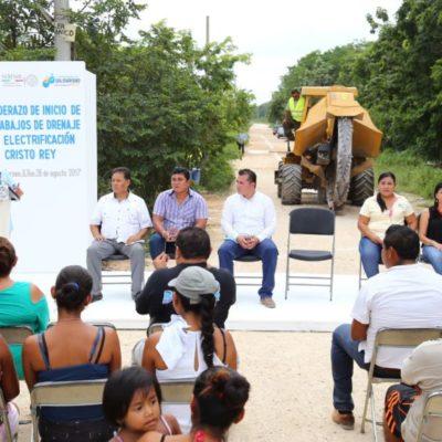 Inicia comuna de Solidaridad trabajos de alumbrado y drenaje en la colonia Cristo Rey