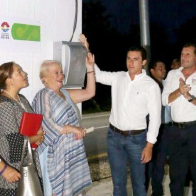 Inaugura Alcalde segunda etapa de iluminación de la Avenida Guayacán con una red de alumbrado público de casi 4 kilómetros.