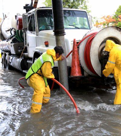 Implementó comuna operativos para enfrentar inundaciones en calles de Cancún tras lluvias provocadas por 'Franklin'