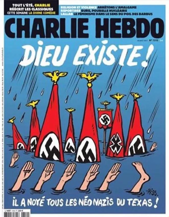 ¿DIOS EXISTE Y CASTIGA A TEXAS?: 'Charlie Hebdo' publica polémica portada para burlarse de los neonazis en EU con el huracán 'Harvey' como telón de fondo