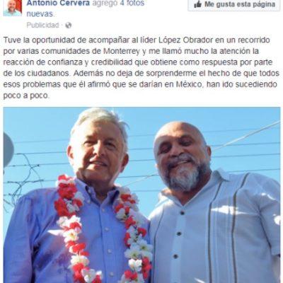 USA 'EL ORIGINAL PELÓN' CERVERA A AMLO PARA PUBLICITARSE: El ex regidor del MC muestra en redes sociales su supuesta 'cercanía' con el líder de Morena