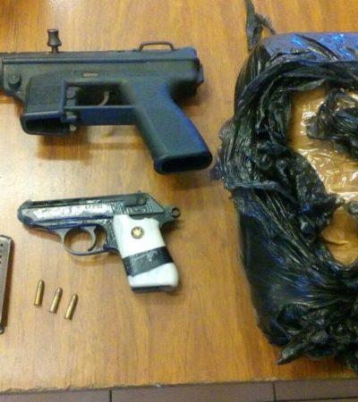 DETIENEN A EMPISTOLADOS EN VILLAS OTOCH PARAÍSO: La captura de presuntos sicarios, donde anoche ejecutaron a un hombre; portaban armas y droga