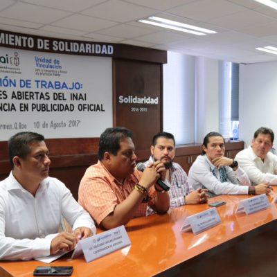 Es Solidaridad el primer gobierno municipal del país en sumarse a las plataformas 'Comisiones Abiertas' y 'Transparencia en Publicidad Oficial', reconoce INAI