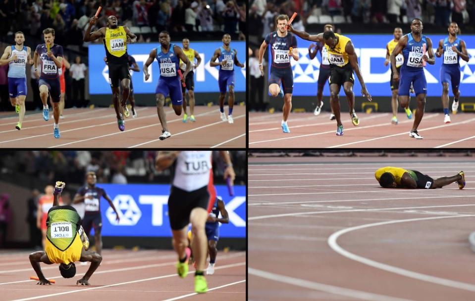 Se despide Usain Bolt de las competencias con dramática lesión en la final de los 4×100