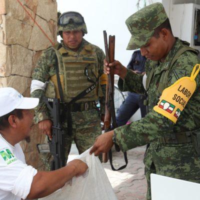 Realizan Sedena y comuna jornada de canje y registro de armas de fuego en Tulum