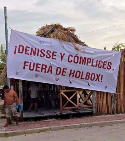 Colocan manta de rechazo a Denisse de Kalafe en Holbox