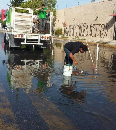 Limpian pozos de absorción en Cancún ante previsión de lluvias por tormenta