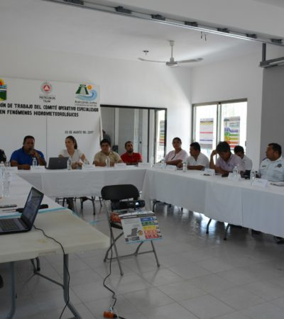 SE PREPARAN PARA HURACANES: Reunión de trabajo del Comité Operativo Especializado en Fenómenos Hidrometeorológicos en Tulum