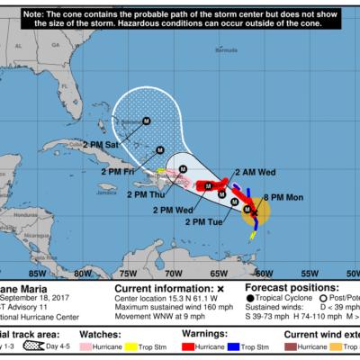 MÁXIMA ALERTA EN EL CARIBE: Huracán 'María' alcanza categoría 5 y amenaza a islas previamente arrasadas