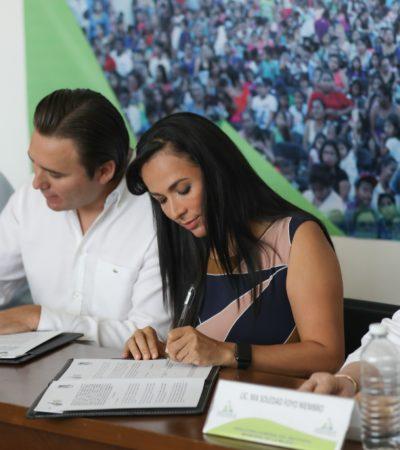 Alcaldesa de Puerto Morelos y el 'ombudsman' firman convenio de colaboración para capacitación en materia de derechos humanos