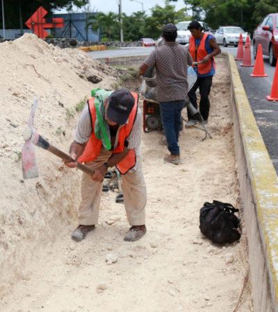 Como parte del Plan de Movilidad, adaptan camellones para mejorar circulación vehicular en Cancún