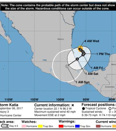 Alerta en Tamaulipas y Veracruz por formación de la tormenta 'Katia' en el Golfo de México