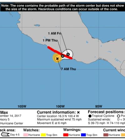 AMENAZA 'MAX' A ACAPULCO: Nace huracán categoría 1 en el Pacífico
