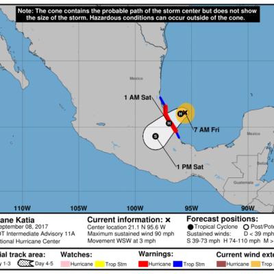 SE FORTALECE 'KATIA' ANTES DE PEGAR EN VERACRUZ: Huracán en el Golfo de México ya es categoría 2