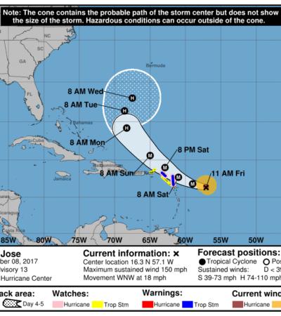 SE PONEN 'INTENSOS' LOS HURACANES: 'José' aumenta su poder a categoría 4 en el Atlántico