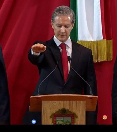 Asume el impugnado Alfredo del Mazo gubernatura del Estado de México con el cobijo de la cúpula priista