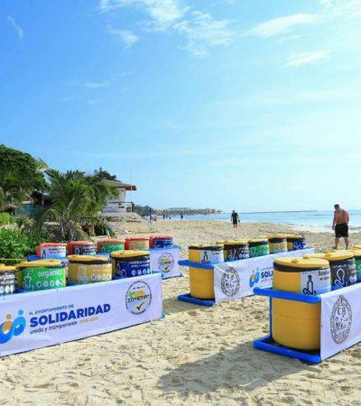 Reutilizan boyas como contenedores de basura en Playa
