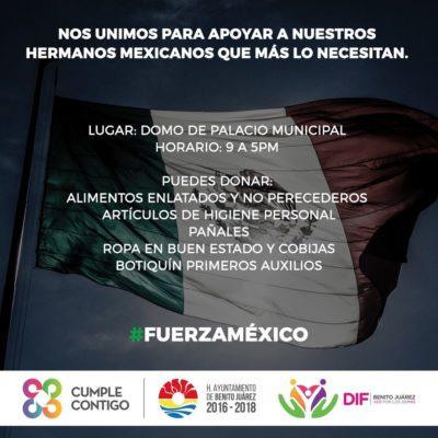 Instalan Centros de Acopio en Cancún en apoyo a damnificados por sismo en el centro de México
