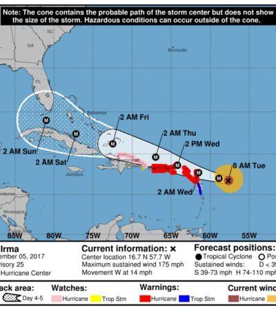 ALERTA EN EL ATLÁNTICO: Se convierte 'Irma' en un poderoso huracán categoría 5 en su avance hacia las Antillas Menores