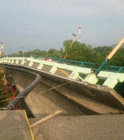COLAPSA PUENTE POR NUEVO SISMO EN OAXACA: Se desploma cruce vehicular en la carretera Coatzacoalcos-Salina Cruz