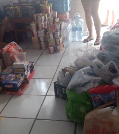 Dan su granito de arena en Puerto Morelos para los damnificados del temblor