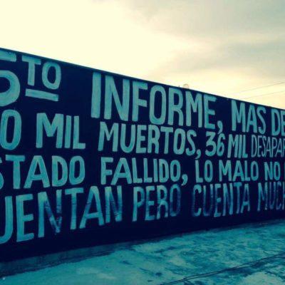 """""""LO MALO NO LO CUENTAN, PERO CUENTA MUCHO"""": Cuelgan manta en contra de Peña Nieto en Cancún"""