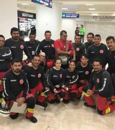Viajan más rescatistas cancunenses a la CDMX