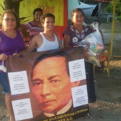 Llega ayuda a oaxaqueños en desgracia enviada desde Cancún
