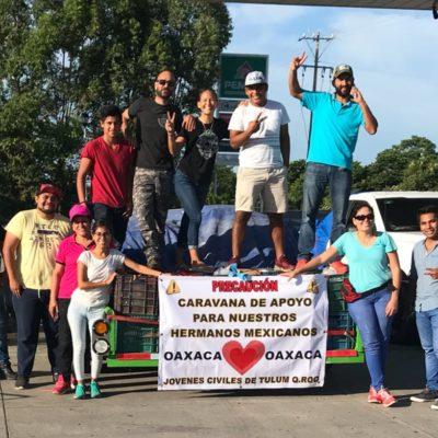 Instalan jóvenes centro de acopio en Tulum para ayudar a dar techo a damnificados de Morelos y Puebla