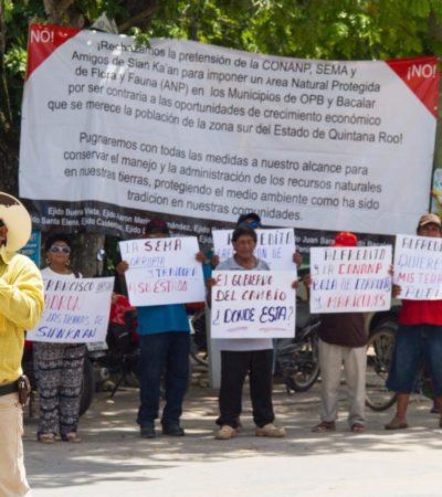 PROTESTA EN BACALAR: Cuestionan a gobierno de Carlos Joaquín por apoyo para la creación de Área Natural Protegida en la laguna
