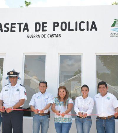 Se inauguró la caseta de policías en el fraccionamiento 'Guerra de Castas' en Tulum; empresarios hicieron donación de motocicletas