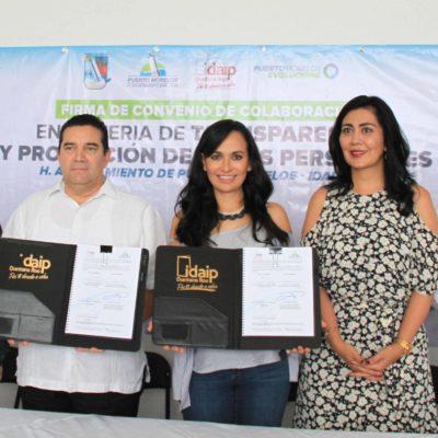 Firma gobierno de Puerto Morelos convenio de colaboración con el Idaipqroo en materia de transparencia