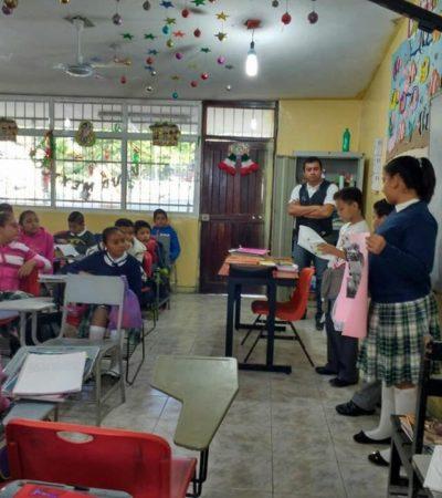 Imparten niños difusores plática informativa sobre derechos infantiles a los alumnos de la escuela primaria 'David Alfaro Siqueiros' en Puerto Morelos
